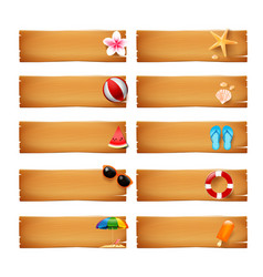 collection of blank wood banner with summer icon vector image vector image