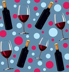 seamless pattern with a bottle of wine and glass vector image vector image