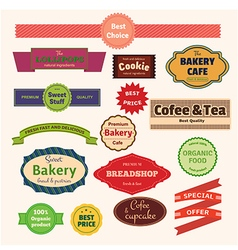 Set of bakery labels ribbons and cards for your vector