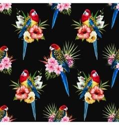 Watercolor rosella bird pattern vector image vector image
