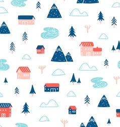 Winter town landscape pattern vector image vector image