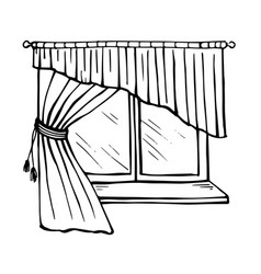 beautiful window with sill tulle and curtains vector image vector image