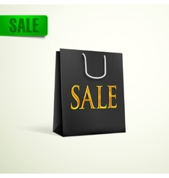 black shopping bag sale concept vector image