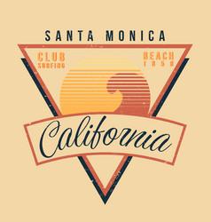california surf sport typography vintage t shirt vector image