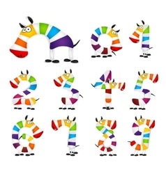Collection of Numbers Made Of colorful animal vector image