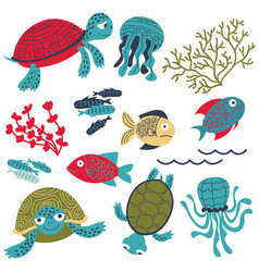 colorful sea turtles with fish and corals set vector image vector image