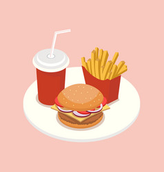 fast food isometric vector image vector image