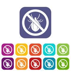 no bug sign icons set vector image vector image
