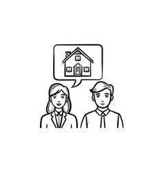people dreaming about house hand drawn sketch icon vector image