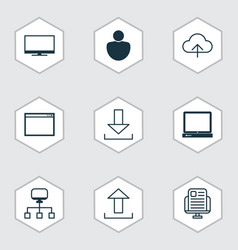 set of 9 web icons includes display program vector image vector image