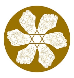 Six fists abstract symbol with hexagonal star vector image vector image