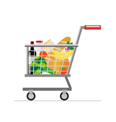 trolley from the supermarket with food dairy vector image
