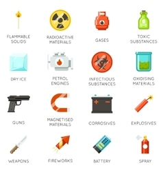 Airport dangerous and prohibited luggage icons vector image