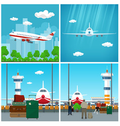 Airport waiting room with people and airplane vector