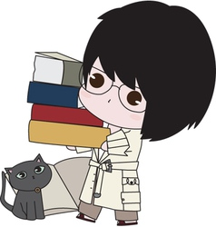 Boy With his Books vector image