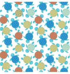 Cartoon colorful turtles seamless pattern vector