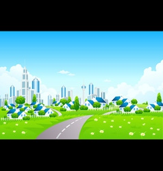 Green Landscape with City and Small Village vector image