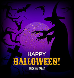 halloween background with silhouette of witch vector image vector image