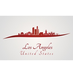 Los Angeles skyline in red vector image