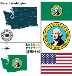 Map of Washington with seal vector image vector image