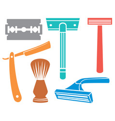 shaving razor and brush icons vector image vector image
