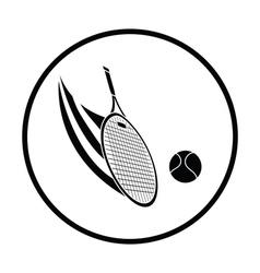 Tennis racket hitting a ball icon vector image vector image