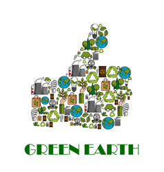 green earth environment protection thumb up poster vector image vector image