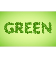green word made from green leaves vector image vector image