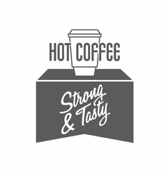 Logo with coffee cup and typing vector image