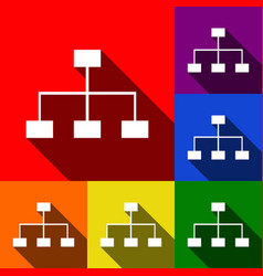 site map sign set of icons with flat vector image