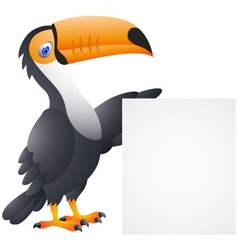 Toucan Bird With Blank Sign vector image vector image