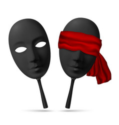 Two black masks with open and blindfolded eyes vector image vector image