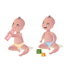 two cute kids baby girl and a baby boy vector image