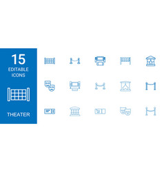 15 theater icons vector image