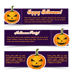 abstract halloween greeting horizontal banners vector image