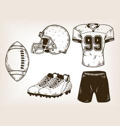american football equipment engraving vector image