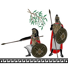 Ancient hellenic warriors second variant vector