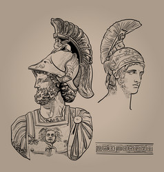 ares the greek god of war digital sketch hand vector image
