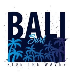 Bali surfing graphic with palms t-shirt design vector