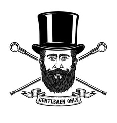 bearded gentleman head in vintage hat design vector image