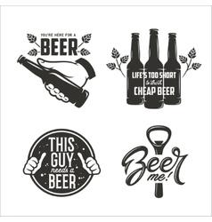 Beer relaterd quotes set Beer advertising design vector