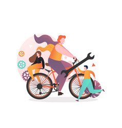 bicycle service concept for web banner vector image