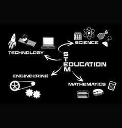 black and white stem education vector image