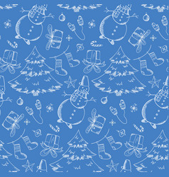 blue pattern with hand drawn christmas elements vector image
