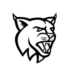 Bobcat or eurasian lynx cat head side view mascot vector
