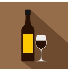 Bottle of wine icon flat style vector image