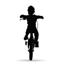 Boy drive bike vector