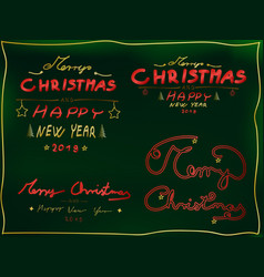 christmas 4 piece text set hand-drawn font vector image