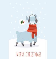 Christmas card with lama funny magic cute vector