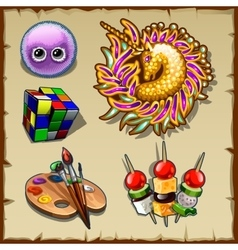 Collection of games decorations and other vector image